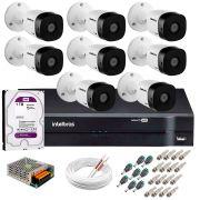 Kit 8 Câmeras VHD 1120 B G5 + DVR Intelbras + HD 1TB para Armazenamento + App Grátis de Monitoramento, Câmeras HD 720p 20m Infravermelho de Visão Noturna Intelbras + Fonte, Cabos e Acessórios