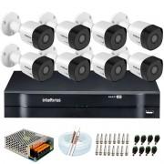 Kit 8 Câmeras VHD 3120 B G6 + DVR Intelbras + App Grátis de Monitoramento, Câmeras HD 720p 20m Infravermelho de Visão Noturna Intelbras + Fonte, Cabos e Acessórios