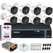 Kit 8 Câmeras VHD 3120 B G6 + DVR Intelbras + HD 1TB para Armazenamento + App Grátis de Monitoramento, Câmeras HD 720p 20m Infravermelho de Visão Noturna Intelbras + Fonte, Cabos e Acessórios