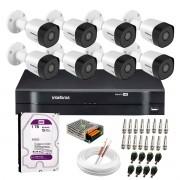 Kit 8 Câmeras VHD 3130 B G6 + DVR Intelbras + HD 1TB para Armazenamento +  App Grátis de Monitoramento, Câmeras HD 720p 30m Infravermelho de Visão Noturna Intelbras + Fonte, Cabos e Acessórios