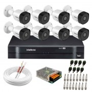 Kit 8 Câmeras VHD 3130 B G6 + DVR Intelbras + App Grátis de Monitoramento, Câmeras HD 720p 30m Infravermelho de Visão Noturna Intelbras + Fonte, Cabos e Acessórios