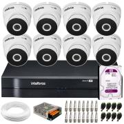 Kit 8 Câmeras VHD 3220 Full HD 1080p + DVR Intelbras MHDX 1108 + HD 2TB + App Grátis de Monitoramento, 20m Infravermelho de Visão Noturna + Fonte, Cabos e Acessórios