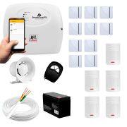 Kit alarme jfl 15 sensores residencial e comercial, smartcloud 18 sem fio