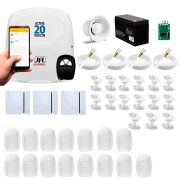 Kit alarme jfl 18 sensores, active 20 ethernet, aplicativo celular