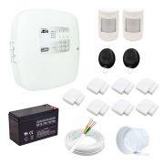 Kit alarme residencial 9 sensores sem fio, 2 controles, central ad4 soft ec5 rcg, com bateria
