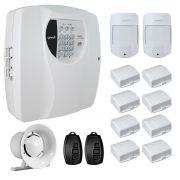 Kit Alarme Residencial Wifi 10 Sensores sem fio, 2 Controles Remoto, Central Cloud 10 EW Genno