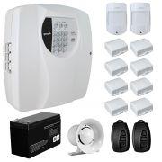 Kit Alarme Residencial Wifi 10 Sensores sem fio, 2 Controles Remoto, Central Cloud 10 EW Genno + Bateria