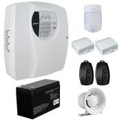 Kit Alarme Residencial Wifi 3 Sensores sem fio, 2 Controles Remoto, Central Cloud 10 EW Genno + Bateria