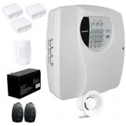 Kit Alarme Residencial Wifi 4 Sensores sem fio, 2 Controles Remoto, Central Cloud 10 EW Genno + Bateria