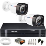 Kit 2 Câmeras de Segurança Full HD 1080p Lite 20 Metros Infravermelho + DVR Intelbras + HD + Cabos e Acessórios