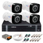 Kit Câmeras + DVR Intelbras + App Grátis de Monitoramento, Câmeras HD 720p 20m Infravermelho de Visão Noturna + Fonte, Cabos e Acessórios
