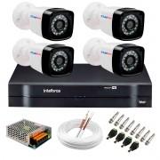 Kit Câmeras de Segurança HD 720p 20m Infravermelho de Visão Noturna  + DVR Intelbras + App Grátis de Monitoramento da Intelbras + Fonte, Cabos e Acessórios