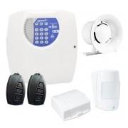 Kit Central de Alarme Residencial e Comercial com 02 Sensores Genno Nice  + Controle Remoto, aviso de disparo por Telefone Fixo