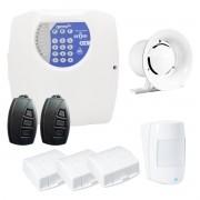 Kit Central de Alarme Residencial e Comercial com 04 Sensores Genno Nice + Controle Remoto, aviso de disparo por Telefone Fixo