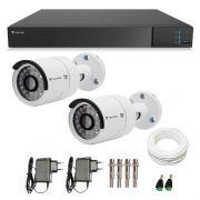 Kit 02 Câmeras de Segurança Full HD 1080p Tecvoz QCB-236 + DVR Tecvoz Flex Full HD + Acessórios