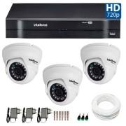 Kit 03 Câmeras de Segurança Dome HD 720p Intelbras VMD 1010 G4 + DVR Intelbras Multi HD + Acessórios