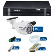 Kit 16 Câmeras de Segurança HD 720p Intelbras VM 3120 IR G4 + DVR Intelbras Multi HD + Acessórios