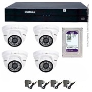 Kit 04 Câmeras de Segurança IP 1Mp HD 720p Intelbras VIP 1120 D + NVD 1108 Intelbras, NVR, HVR + HD WD Purple 1TB