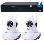 Kit 02 Câmeras de Segurança IP Sem Fio Wifi HD 720p Robo Wireless + NVD 1108 Intelbras, NVR ,HVR