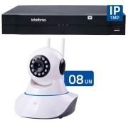 Kit 08 Câmeras de Segurança IP Sem Fio Wifi HD 720p Robo Wireless + NVD 1108 Intelbras, NVR ,HVR