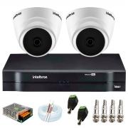 Kit com 2 Câmeras Infravermelho Full HD 1080p + DVR MHDX 1104 Intelbras + Acessórios + App Grátis de Monitoramento