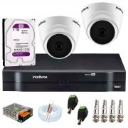 Kit com 2 Câmeras Infravermelho Full HD 1080p + DVR MHDX 1104 Intelbras + HD 1TB + Acessórios + App Grátis de Monitoramento