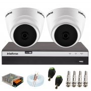 Kit com 2 Câmeras Infravermelho Full HD 1080p + DVR MHDX 3104 Intelbras + Acessórios + App Grátis de Monitoramento
