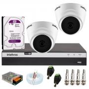 Kit com 2 Câmeras Infravermelho Full HD 1080p + DVR MHDX 3104 Intelbras + HD 1TB + Acessórios + App Grátis de Monitoramento