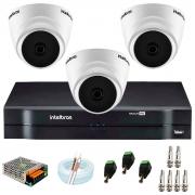 Kit com 3 Câmeras Infravermelho Full HD 1080p + DVR MHDX 1104 Intelbras + Acessórios + App Grátis de Monitoramento