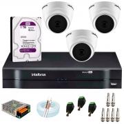 Kit com 3 Câmeras Infravermelho Full HD 1080p + DVR MHDX 1104 Intelbras + HD 1TB + Acessórios + App Grátis de Monitoramento