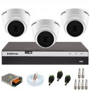Kit com 3 Câmeras Infravermelho Full HD 1080p + DVR MHDX 3104 Intelbras + Acessórios + App Grátis de Monitoramento