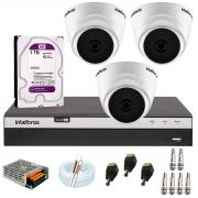 Kit com 3 Câmeras Infravermelho Full HD 1080p + DVR MHDX 3104 Intelbras + HD 1TB + Acessórios + App Grátis de Monitoramento