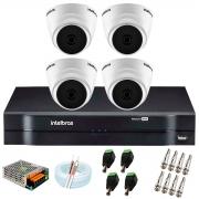 Kit com 4 Câmeras Infravermelho Full HD 1080p + DVR MHDX 1104 Intelbras + Acessórios + App Grátis de Monitoramento