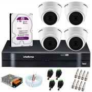 Kit com 4 Câmeras Infravermelho Full HD 1080p + DVR MHDX 1104 Intelbras + HD 1TB + Acessórios + App Grátis de Monitoramento