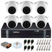 Kit com 6 Câmeras Infravermelho Full HD 1080p + DVR MHDX 1108 Intelbras + Acessórios + App Grátis de Monitoramento