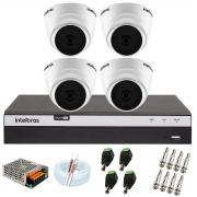 Kit com 4 Câmeras Infravermelho Full HD 1080p + DVR MHDX 3104 Intelbras + Acessórios + App Grátis de Monitoramento