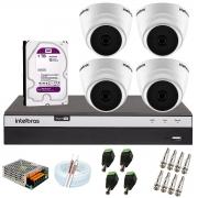 Kit com 4 Câmeras Infravermelho Full HD 1080p + DVR MHDX 3104 Intelbras + HD 1TB + Acessórios + App Grátis de Monitoramento