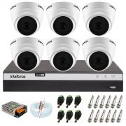 Kit com 6 Câmeras Infravermelho Full HD 1080p + DVR MHDX 3108 Intelbras + Acessórios + App Grátis de Monitoramento