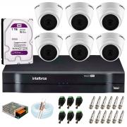 Kit com 6 Câmeras Infravermelho Full HD 1080p + DVR MHDX 1108 Intelbras +  HD 1TB + Acessórios + App Grátis de Monitoramento