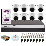 Kit com 8 Câmeras Infravermelho Full HD 1080p + DVR MHDX 3108 Intelbras + HD 1TB + Acessórios + App Grátis de Monitoramento