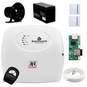 Kit de Alarme JFL SmartCloud 18 com 18 zonas + Sensor Magnético de Abertura Sem Fio + Módulo Ethernet + Cabo 4 Vias 0,50mm 10m + Sirene + Bateria