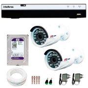Kit Full HD DVR Intelbras 1080p + 02 Câmeras de Segurança Full HD 1080p Focusbras FS-MDF2M + HD WD Purple 1TB + Acessórios