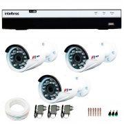 Kit Full HD DVR Intelbras 1080p + 03 Câmeras de Segurança Full HD 1080p Focusbras FS-MDF2M + Acessórios