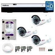 Kit Full HD DVR Intelbras 1080p + 03 Câmeras de Segurança Full HD 1080p Focusbras FS-MDF2M + HD WD Purple 3TB + Acessórios