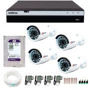 Kit Full HD DVR Intelbras 1080p + 04 Câmeras de Segurança Full HD 1080p Focusbras FS-MDF2M + HD WD Purple 1TB + Acessórios