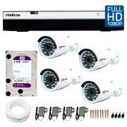 Kit Full HD DVR Intelbras 1080p + 04 Câmeras de Segurança Full HD 1080p Focusbras FS-MDF2M + HD WD Purple 2TB + Acessórios
