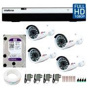 Kit Full HD DVR Intelbras 1080p + 04 Câmeras de Segurança Full HD 1080p Focusbras FS-MDF2M + HD WD Purple 3TB + Acessórios