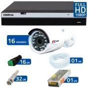Kit Full HD DVR Intelbras 1080p + 16 Câmeras de Segurança Full HD 1080p Focusbras FS-MDF2M + Acessórios