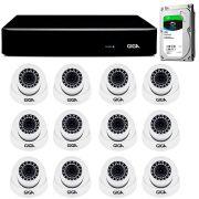 Kit giga security 12 câmeras 2k gs0041 + dvr com hd 1tb seagate + acessórios