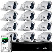 Kit 12 Câmeras Full HD + DVR Giga Security + HD 1TB + App Grátis de Monitoramento, Câmeras GS0273 1080p 30m Infravermelho de Visão Noturna + Fonte, Cabos e Acessórios